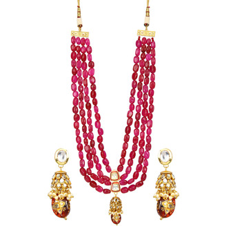 Runjhun Jewellery Tanjore  Ruby Onex Beads Designer Necklace for Women & Girl