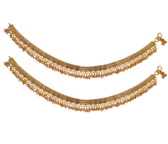 Runjhun Jewellery Elegant Gold Plated Broad Anklets