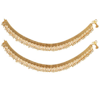 Runjhun Jewellery Elegant Gold Plated White Pearls Broad Anklets