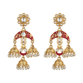 Runjhun Jewellery Trendy Maroon Danglers for Women Girls