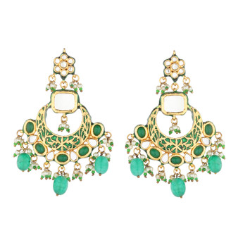 Runjhun Jewellery Kundan Green Stone Gold plated Elegant Designer Ethnic Traditional Bollywood Danglers Women Girls