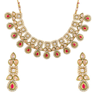 Runjhun Jewellery Ruby Uncut Stone Designer Necklace for Women & Girl