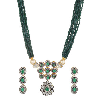 Runjhun Jewellery Victoria AD Semi Precious Green Stone Necklace for Women & Girls