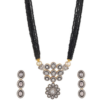 Runjhun Jewellery Victoria AD Semi Precious  Silver Stone Necklace for Women & Girls
