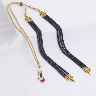 Runjhun Jewellery Blue Onex And Kundan 2-Layer String for Pendent