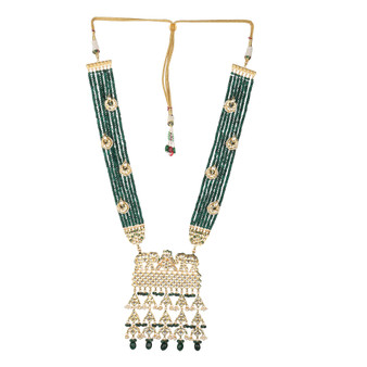 Runjhun Jewellery Wedding Kundan Long Green Semi Precious Beads 18 Carat Gold Plated Royal Designer Ethnic Traditional Pearl Necklace for Women Girls