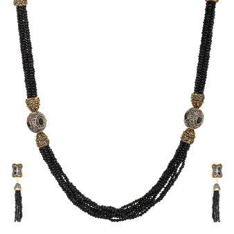 Runjhun Jewellery Rajasthani Black Traditional Gold Plated Necklace Set for Women