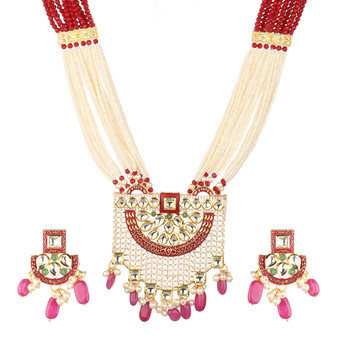 Runjhun Jewellery Meenakari Kundan Royal Ruby And Golden Long Necklace Set