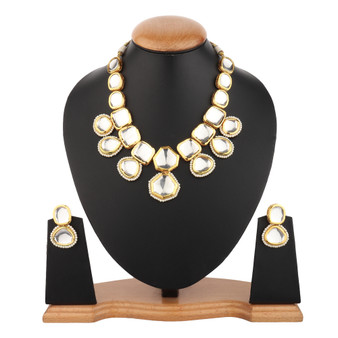Runjhun Jewellery Royal Big Kundan Wedding Semi Precious Stone Necklace Set