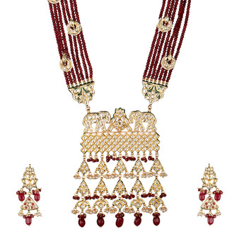 Runjhun Jewellery Wedding Kundan Long Ruby Semi Precious Beads 18 Carat Gold Plated Royal Designer Ethnic Traditional Pearl Necklace for Women Girls