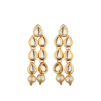 Runjhun Jewellery Kundan Earring Danglers for Women Girls