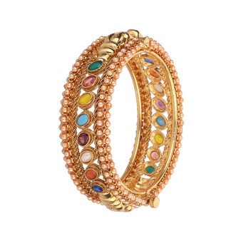Runjhun Jewellery Polki Side Open Traditional Kada Bangles for Women