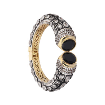 Runjhun Jewellery Black Side Open AD Victorian Royal 22-Carat Gold Plated Bracelet Kara for  Women Girls