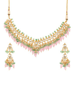 Runjhun Jewellery Pink Stones Kundan Semi Precious Beads Designer Necklace Set