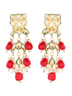 Runjhun Jewellery Ruby Kundan Earrings for Women Girls