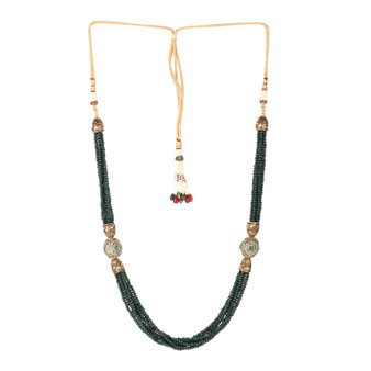 Runjhun Jewellery Green Tanjore Beads Jaipuri Exclusive High Quality Trendy Traditional Necklace Set For Women Girls