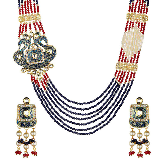 Runjhun Jewellery Designer Multi-Layered Statement Long Blue Maroon Semi Precious Swaroski Beads with Side Broach Necklace for Women Girls