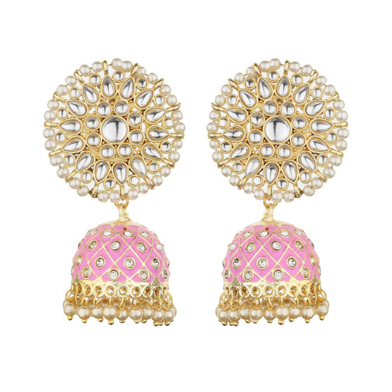 Runjhun Jewellery Gold plated Designer Traditional Pink colour Pearl and Kundan Jhumka/Jhumki Earrings Women & Girls