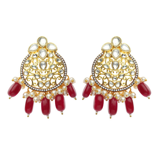 Runjhun Jewellery Kundan Ruby Gold plated Elegant Designer Ethnic Traditional Bollywood Danglers Women Girls