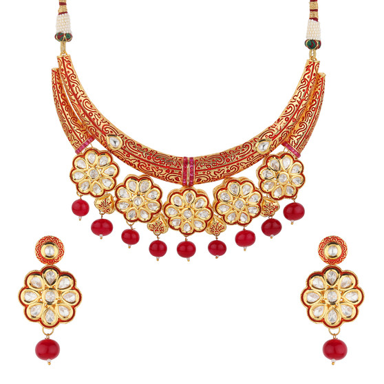 Runjhun Jewellery Kundan Royal Semi Precious 18 Carat Gold Plated Hasli Designer Traditional Exclusive Necklace for Women Girls