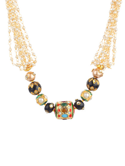 Runjhun Jewellery Trendy Pearl Jaipuri Beads And Pearl Jaipuri Exclusive High Quality 22-Carrat Gold Plated Real Look Traditional Necklace Set For Women Girls