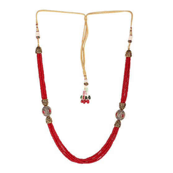 Runjhun Jewellery Ruby Tanjore Beads Jaipuri Exclusive High Quality Trendy Traditional Necklace Set For Women Girls