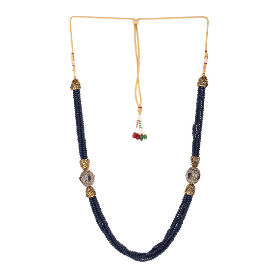 Runjhun Jewellery Blue Tanjore Beads Jaipuri Exclusive High Quality Trendy Traditional Necklace Set For Women Girls