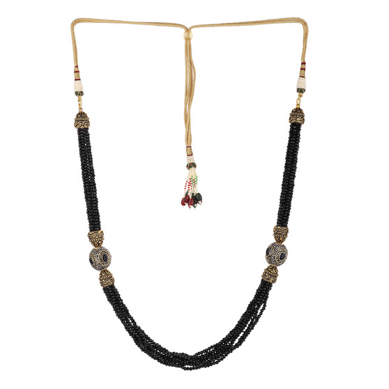 Runjhun Jewellery Black Tanjore Beads Jaipuri Exclusive High Quality Trendy Traditional Necklace Set For Women Girls