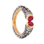 Runjhun Jewellery Ruby Side Open AD Victorian Royal Gold Plated Bracelet Kara for Women and Girls