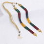 Runjhun Jewellery Multi-Color Onex And Kundan 2-Layer String for Pendent