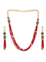 Runjhun Jewellery Ruby Markesh Color Beads And Pearl Jaipuri Exclusive High Quality 22-Carrat Gold Plated Real Look Traditional Necklace Set For Women Girls