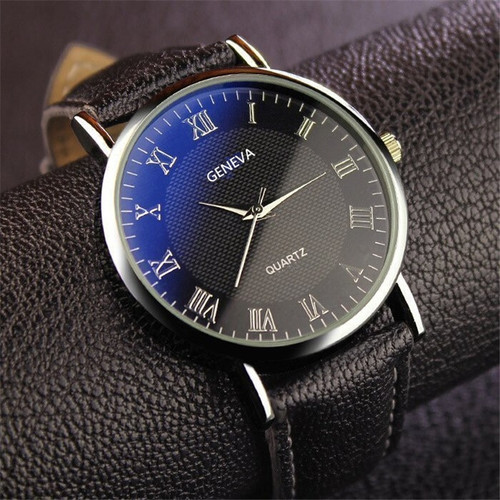 Geneva Men's Fashion Leather Quartz Watch