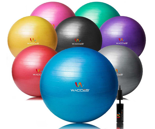 Wacces Anti-Burst Fitness Exercise Stability and Yoga Ball with Pump