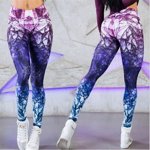 Designer Illusion Print High Waist Sports Yoga Leggings