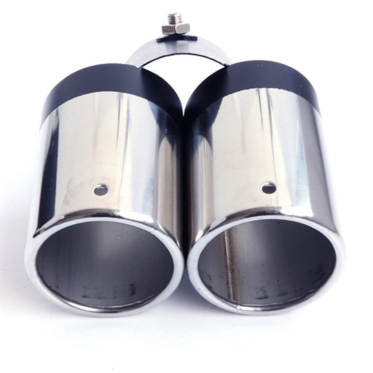 Black Double Outlets Exhaust Muffler Tail Pipe