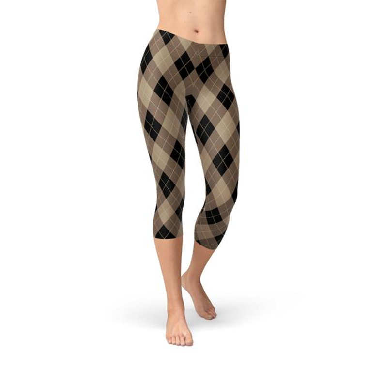 Womens Beige Brown Argyle Capri Leggings