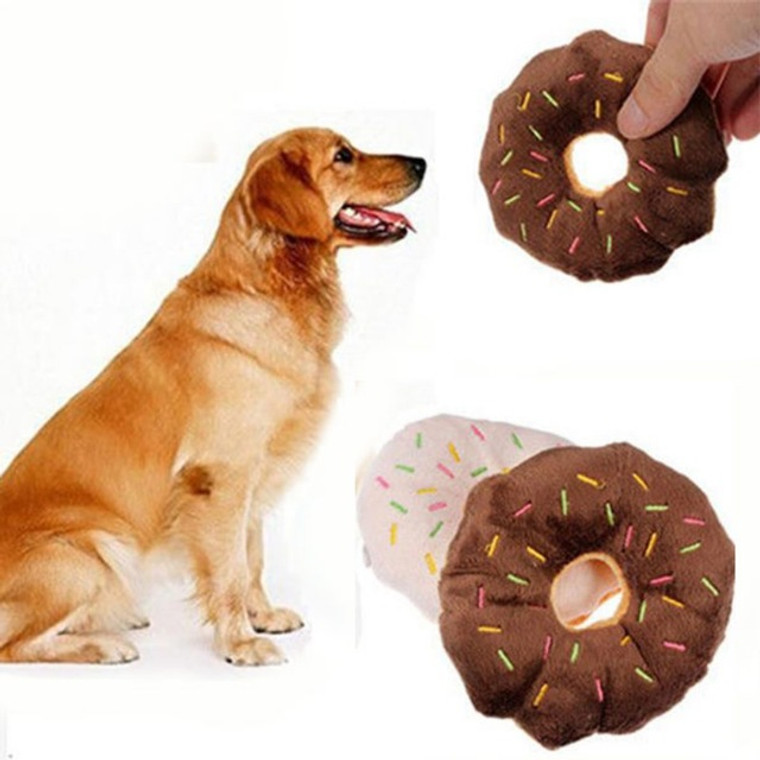 11CM Pet Dog Chew Throw Toys Cute Donuts Puppy Cat