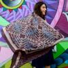 geometric purple blue scarf