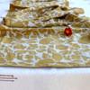 yellow blockprint fabric table runner