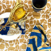 gold and blue napkin set