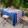 pink and blue table cover
