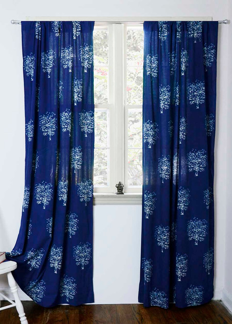 Indigo block printed window curtains