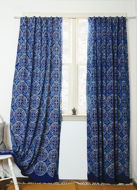 hand block printed curtains in indigo