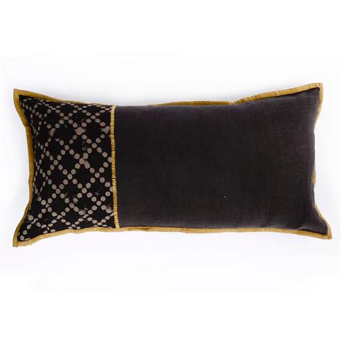 brown lumbar embroidered pillow