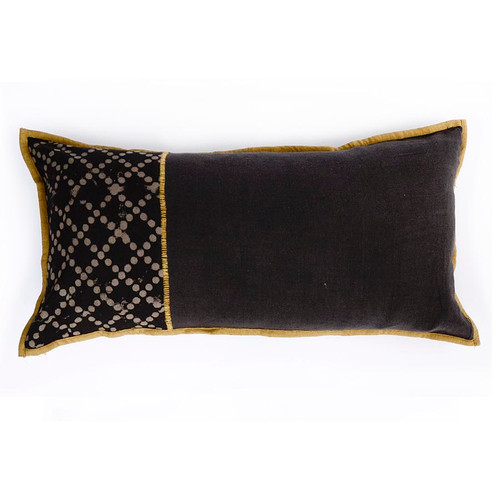 brown lumbar embroidered pillow