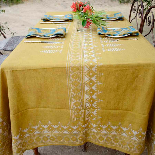 mustard table cloth