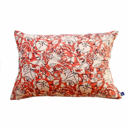 coral block print pillow