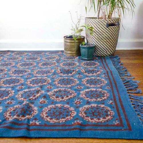 block printed suzani dhurrie rug