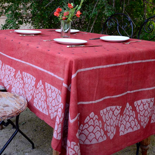 red organic cotton tablecloth