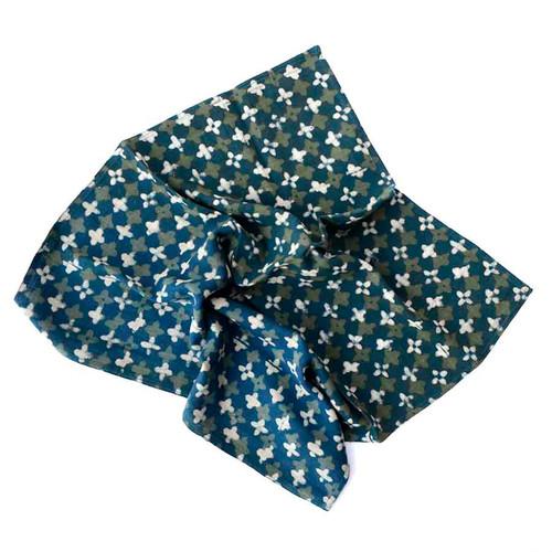 blue green block printed napkins